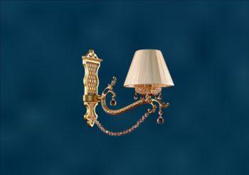 """Классический настенный светильник из латуни с абажуром и хрусталем """"Адемус-1"""""""