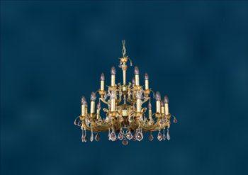 """Латунная классическая двухъярусная люстра со свечами """"Марбелья 12+6"""""""