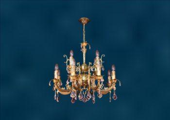 """Латунная классическая двухъярусная люстра со свечами и хрусталем """"Марбелья 8+4"""""""