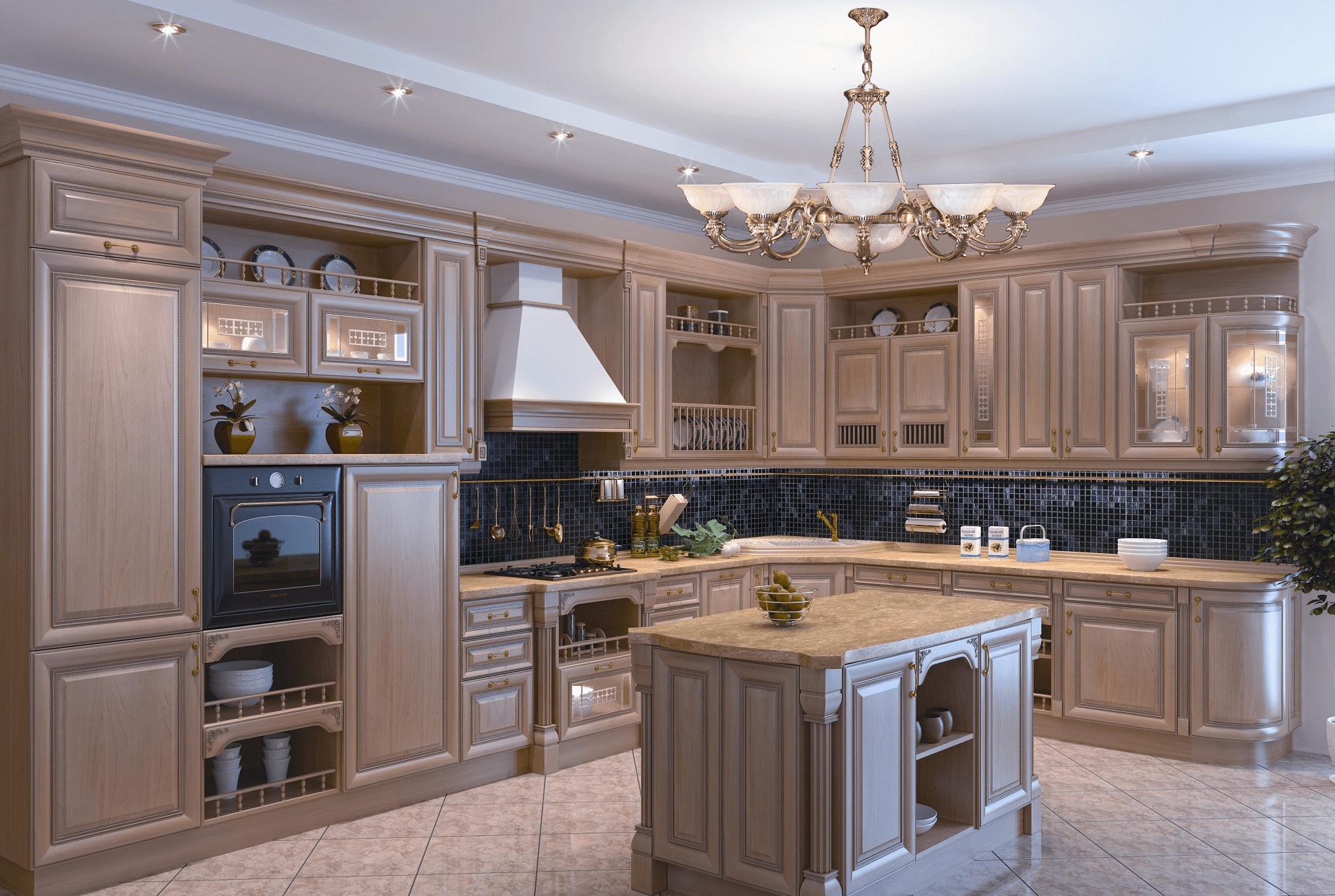 """Латунная люстра с центральным плафоном """"Вальяба 9+2"""" в интерьере кухни"""